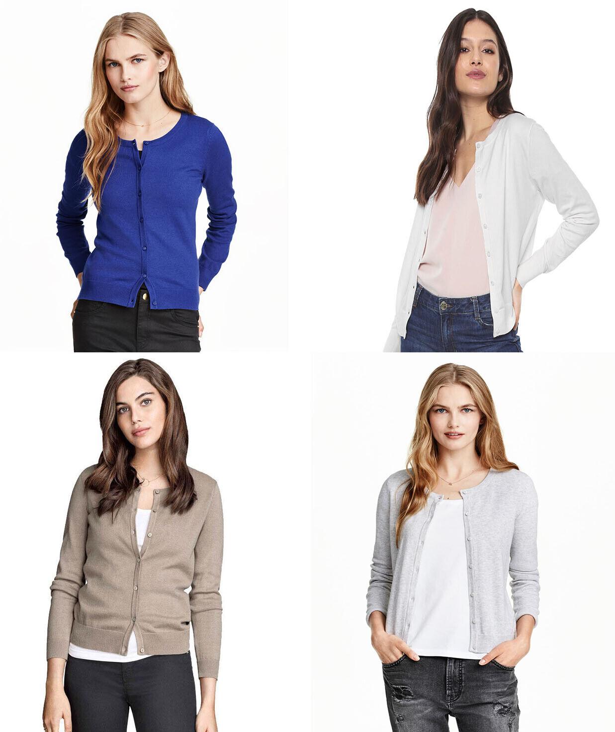 H&M Cotton Soft Knit ROUND NECK button Jumper Sweater Cardig