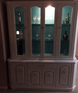 Shabby chic hutch white and turquoise