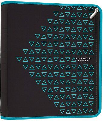 Five Star Zipper Binder 2 Inch 3 Ring Binder Xpanz Teal Triangles