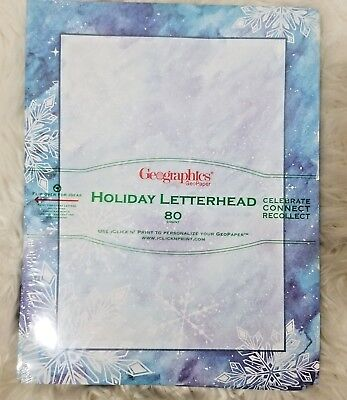 NWT Geographics Holiday O17 Letterhead Winter Wonderland 80 count