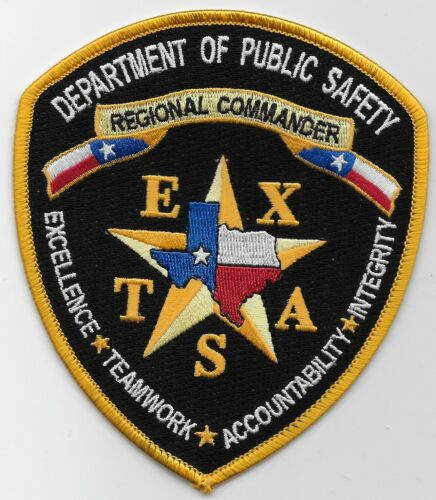 Texas State Police DPS Regional Commander patch TX Color version Pub Safety
