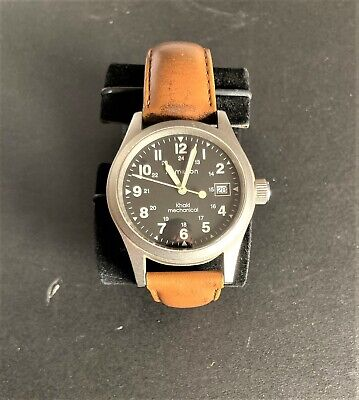 HAMILTON MENS KHAKI MECHANICAL WATCH LEATHER BAND WITH DATE WORKING 5 ATM