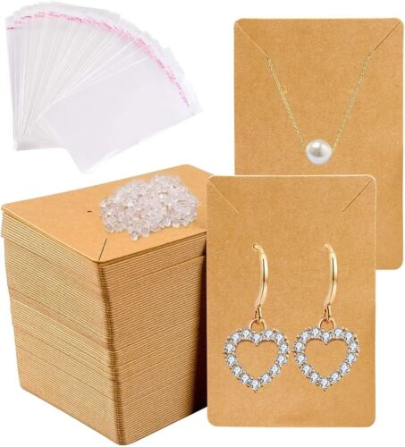 150pcs Earrings and Necklace Display Cards with Self-Sealing Bags Earring Card