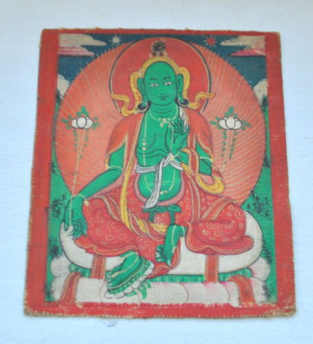 Mongolian Tibetan antique miniature tsakli Thangka Gold Detail Buddha Green Tara