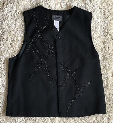 GIANNI VERSACE Men's Vintage '98 Black Vest Sequins Criss Cross X Design Sz 52