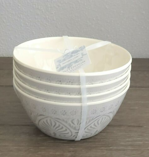SHABBY CHIC Set Of 4 Cream Outdoor Melamine Pasta Cereal Bow
