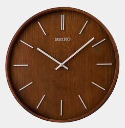 NEW SEIKO  MODERN WALL CLOCK - BROWN WOODEN CASE  13  - QXA765BLH