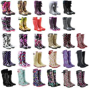 Ladies-Wellington-Festival-Rain-Snow-Wellies-Womens-Flat-Boots-UK-3-4-5-6-7-8