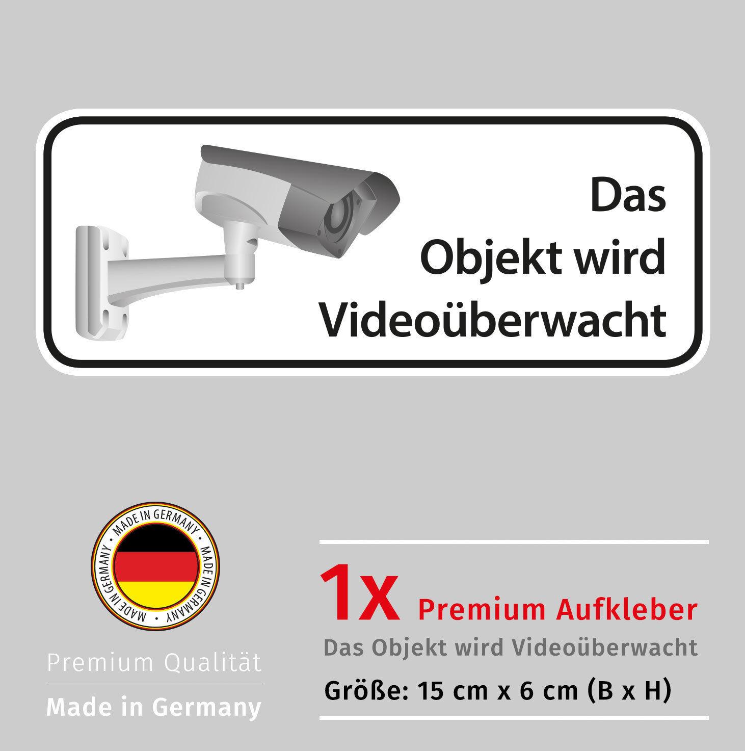 Achtung Videoüberwachung, Aufkleber Alarmanlage mit UV-Schutz, Security