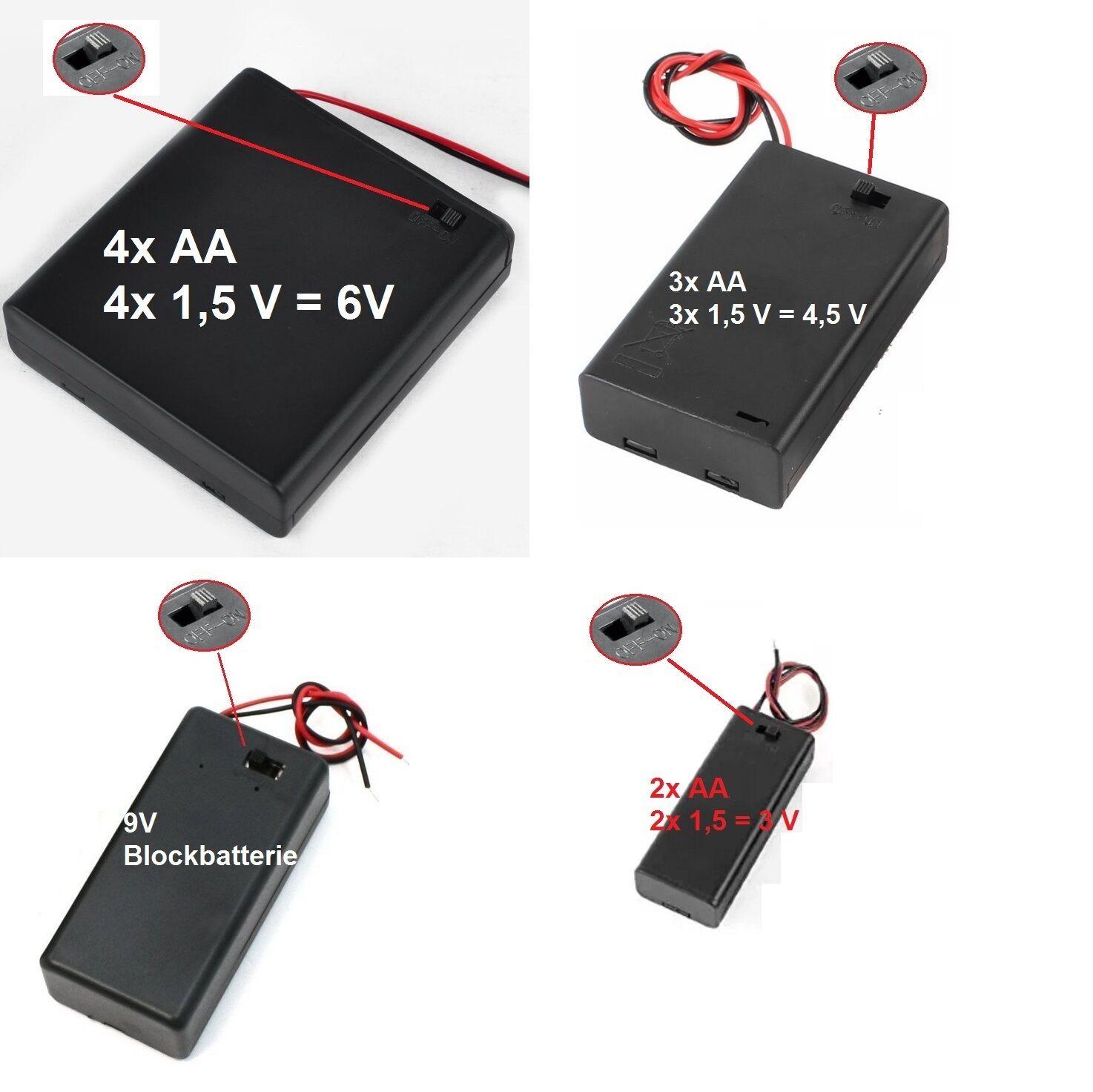 Batteriehalter mit Ein/Aus Schalter 3V 4,5V 6V 9V AA Blockbatterie Box