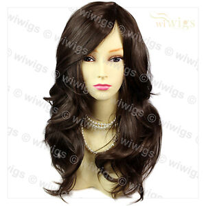 Wonderful-wavy-Long-Dark-Coffee-Brown-Curly-Ladies-Wigs-skin-top-Hair ...