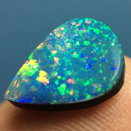2.70ct SPARKLY Brazilian Brazil Opal DOUBLET (1) ~ Wonderful PINFIRE ~ VIDEO