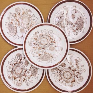 Vintage Alfred Meakin 5 side plates Samoa pattern retro Tarragindi Brisbane South West Preview