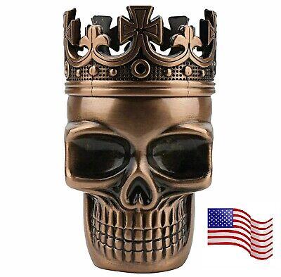 3 Piece Skull Metal Alloy Tobacco Spice Grinder Crusher USA Seller - Bronze
