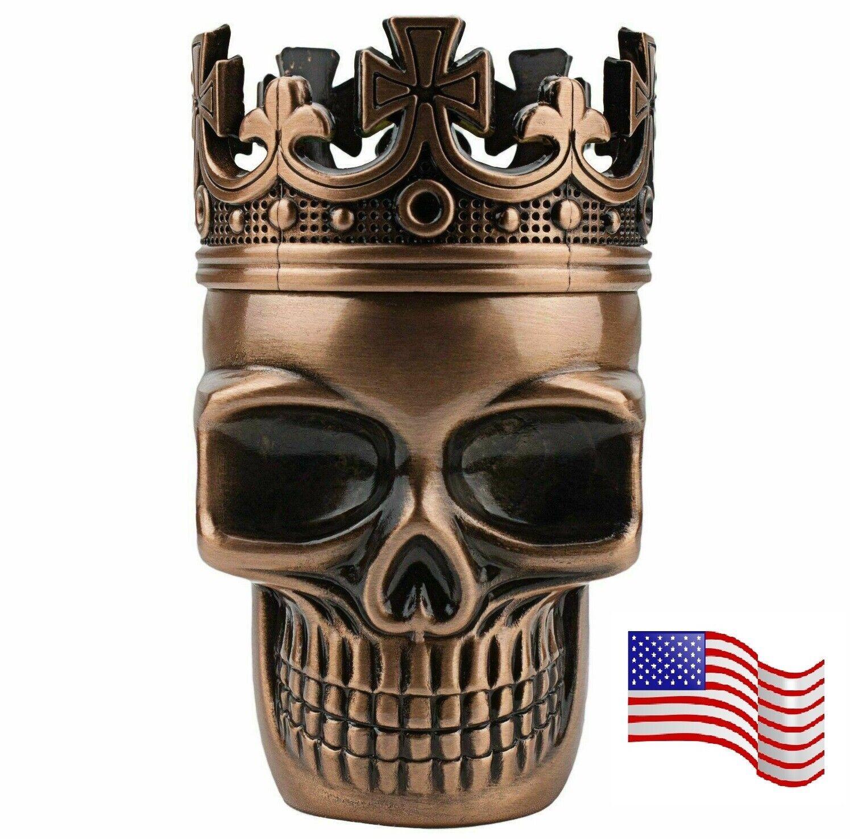 3 Piece Skull Metal Alloy Tobacco Spice Grinder Crusher USA Seller – Bronze Cigars