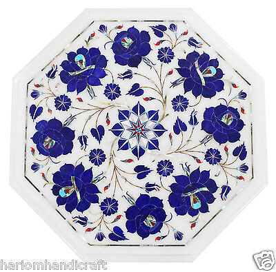 """12"""" Marble Lapis Beautiful Console Table Top Real Floral Marquetry Inlay Decors"""
