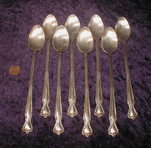 """(8) Iced Tea Spoons 7-3/4"""" Silverplate Rogers & Bros IS Daybreak Elegant Lady"""