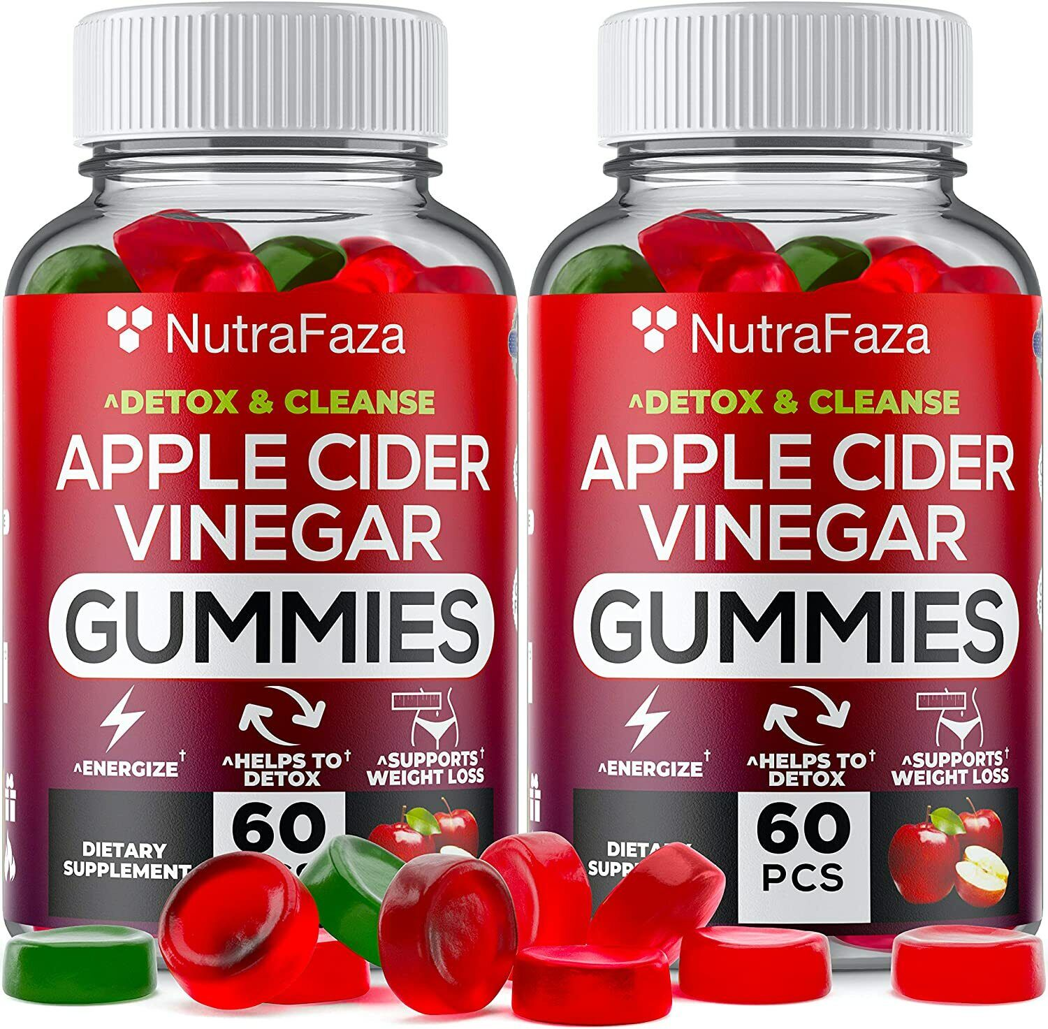 120 Cts Apple Cider Vinegar Gummies with Mother 500mg Supplement for Weight Loss