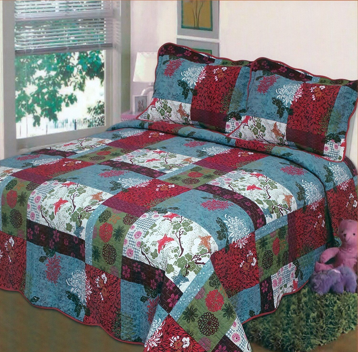 Fancy Linen 3pc Queen, King Bedspread Bed Cover Floral Red B