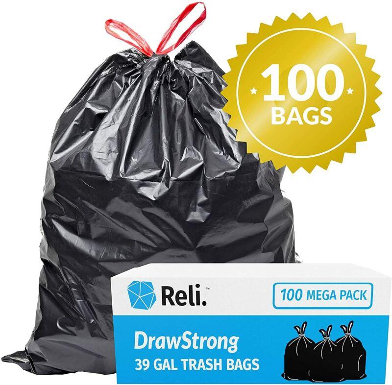 Reli. 39 Gallon Trash Bags Drawstring (100 Count) Large 39 Gallon Heavy Duty