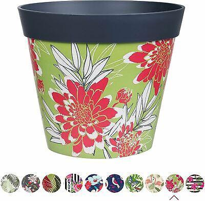 Hum Flowerpots Plant Pot in Grey Large Scale Floral Plastic - 25cm x 25cm