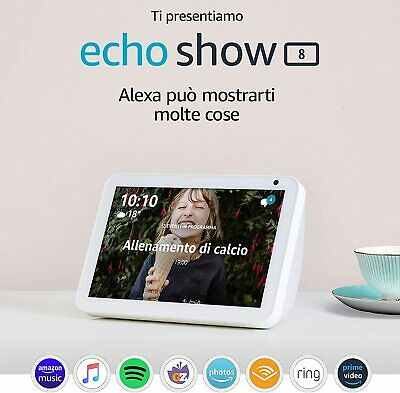 AMAZON ECHO SHOW 8 CON ALEXA BIANCA NUOVO