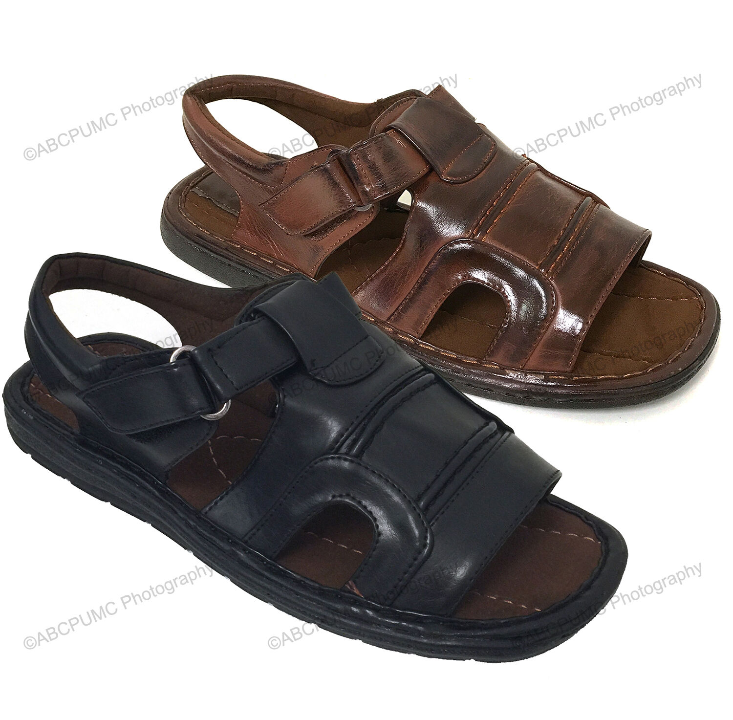 Mens Fisherman Sandals Hook and Loop Open Toe Casual Slippers Summer Shoes Sizes