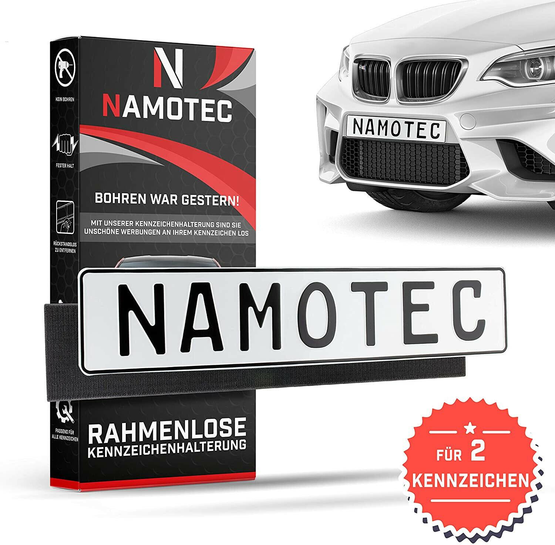Namotec Kennzeichenhalter Set rahmenlos Klett Selbstklebende Nummernschildhalte
