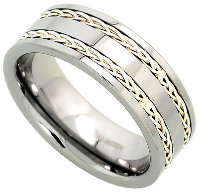 Tungsten Ring Men Wedding Band Double Sterling Silver Rope Inlay Comfort Fit 8mm Comfort Fit Rope Ring