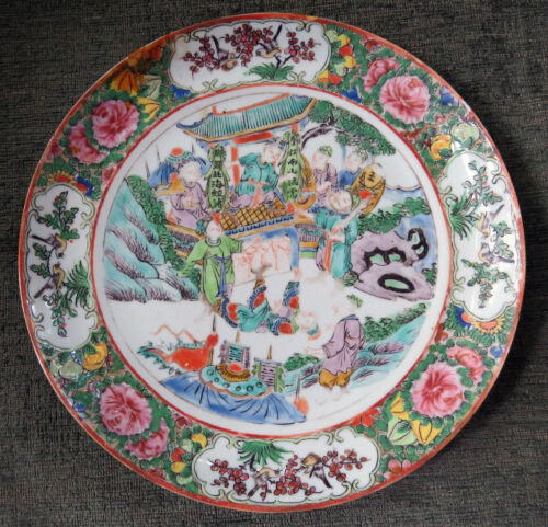 19Th CENTURY CHINESE ROSE MEDALLION PORCELAIN PLATE. POTTERY