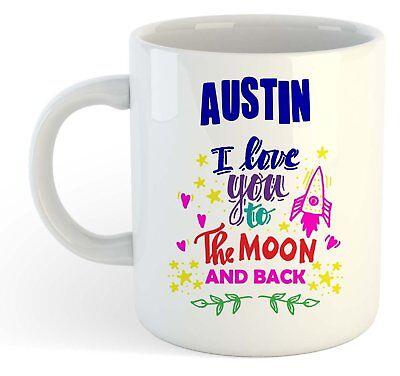 Austin - I Love You To The Moon And Back Mug Blue - Funny Named Valentine Mug