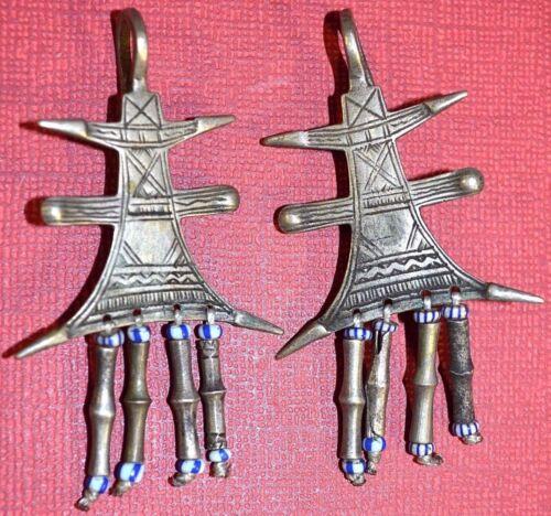 Antique Tuareg Tribal Ethnic Silver Traditional Metal Cross Earrings Mali Africa