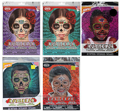 SAVVI* Glitter Face DAY OF THE DEAD Temporary Tattoos HALLOWEEN New *YOU CHOOSE*