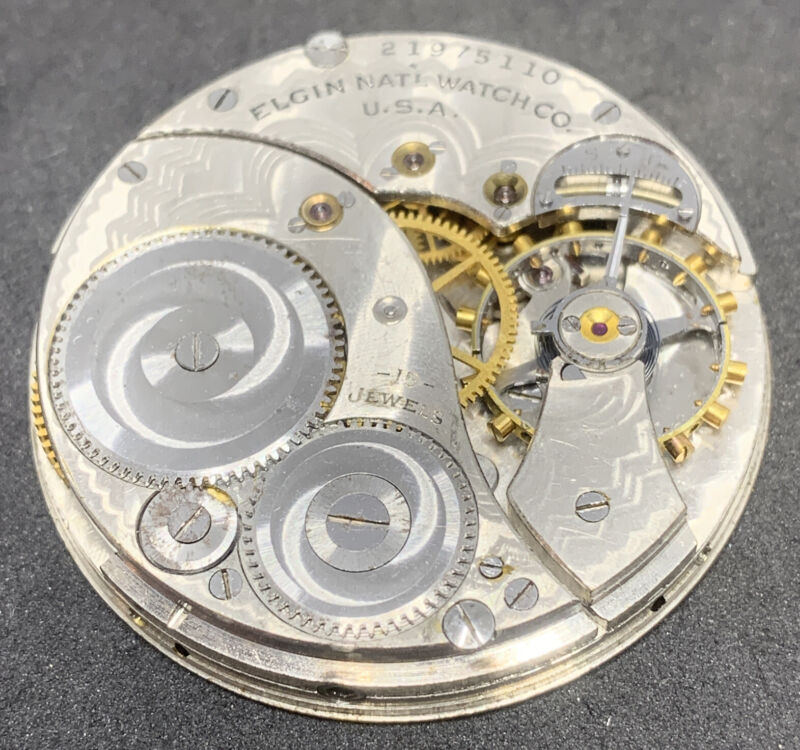 Elgin Pocket Watch Movement 12s 15j Openface Antique For Parts Or Repair F2610