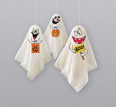 3 Halloween Hanging Ghost Balloons Party Decorations indoor / outdoor FREE P&P