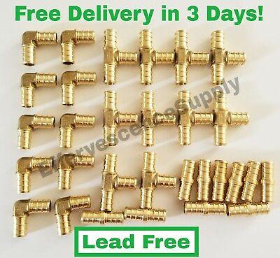 30 34 Brass Pex Fittings 10 Ea-elbowcoupler Tee Lead Free Brass