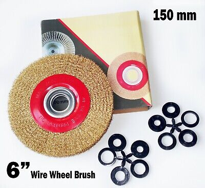 1 Pcs - 6 Inch Round Brass Plated Steel Wire Brush Wheel For Bench Grinder