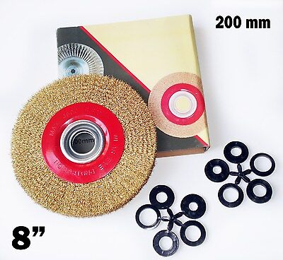 8 Inch Round Brass Plated Steel Wire Brush Wheel For Bench Grinder