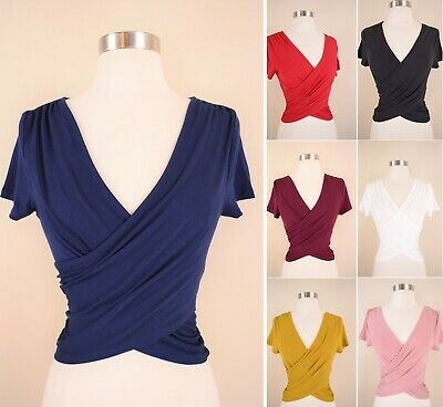 Knit Wrap - Wrap Front Crop Top Soft Knit Solids Stretch Short Sleeve V-Neck Fitted T-Shirt