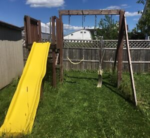 Wood Swing and slide set
