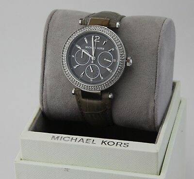 NEW AUTHENTIC MICHAEL KORS PARKER SILVER GREY CRYSTALS WOMEN'S MK2544 WATCH