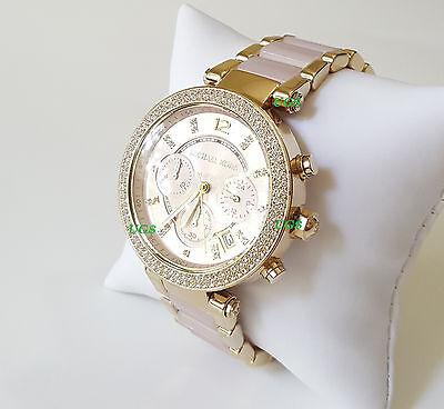 Women's Watch Michael Kors Parker Gold Pink Acetate Band MK6326 Genuine Luxury