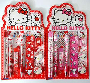 Hello Kitty School Girls Stationery Set Pencil Eraser Sharpener Ruler Ballpoint*