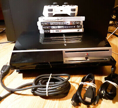 PlayStation 3 PS3 Fat CECHL01 Bundle Lot -Console Cords Controller 4 Games Works