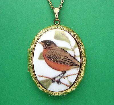 Birds Porcelain Spring ROBIN CAMEO Costume Jewelry GT Locket Pendant - Robin Bird Costume