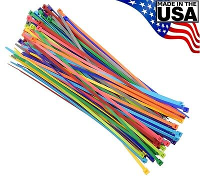 Multi Color Zip Cable Ties 11 50lbs 100pc Made In Usa Nylon Wire Tie Wraps