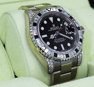 Rolex GMT Master II 116719 18K White Gold 6Ct Baguette Diamonds &Sapphire Bezel