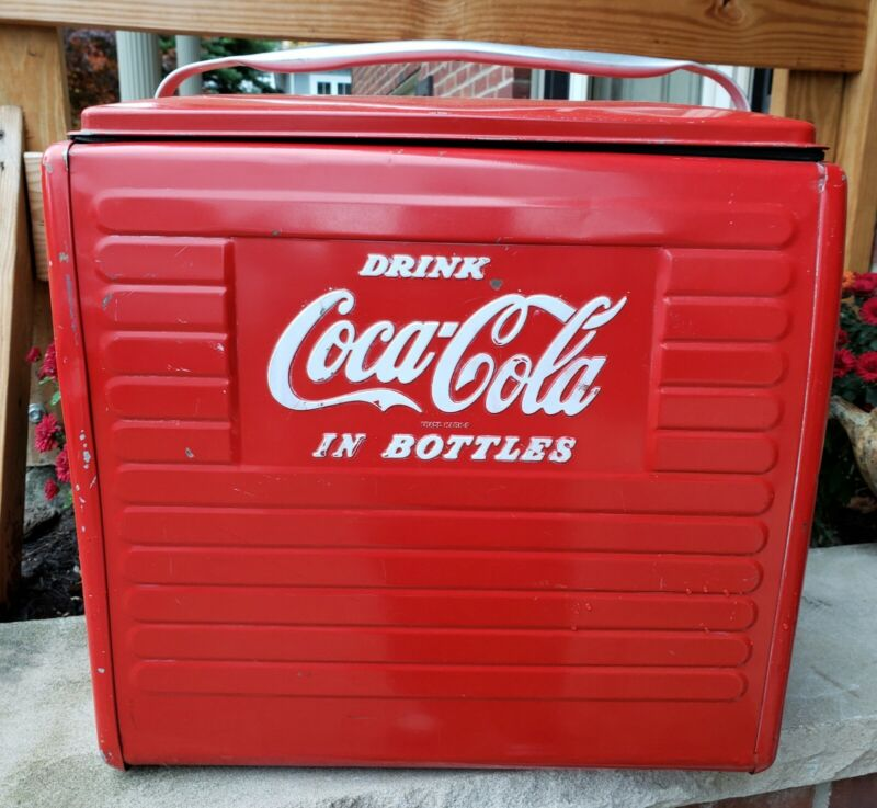 Vintage Coca-Cola Cooler Embossed Advertising Soda Sign