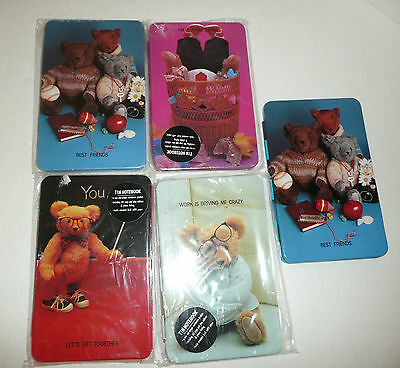 5 Vintage Teddy-bear Themed Tin Note Writing Pads 1985 Notebook Box Company Lot