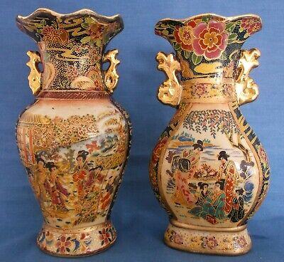 Early Satsuma Style Japanese Geisha Vase with Gold Gilding and Raised Enamel Moriage